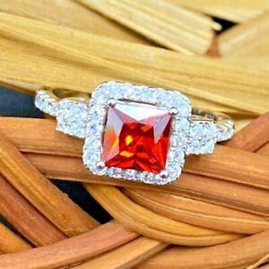GEMS & GIFTS 925 SILVER SIMULATED DIAMOND CREATED ORANGE CUSHION GARNET RING 7