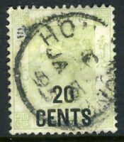 China 1891 Hong Kong 10¢/30¢ Yellow Green QV SG #48 VFU J779 ⭐⭐⭐⭐⭐⭐