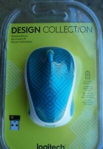 Logitech® Design Collection Wireless Mouse, Teal Maze,New in Sealed Package