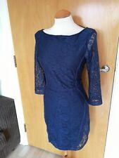 Ladies ZARA Dress Size L 12 14 Navy Lace Shift Smart Party Evening Wedding