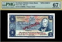 SCOTLAND 1968 5 POUNDS SPECIMEN P#170s PMG UNC 67 - FINEST KNOWN!!