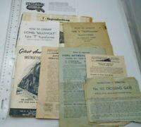 Vintage Train Pamphlets Instruction Booklets Lionel Gilbert T-Reproductions Lot