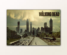 120x80cm LEINWAND BILDER XXL WANDBILD THE WALKING DEAD MOTIV ATLANTA CITY