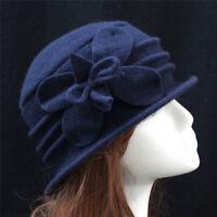 1920s Vintage Women's Wool Felt  Hat Winter Warm Cloche Bucket Warm Hats D