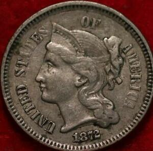 1872 Philadelphia Mint Nickel Three Cent Coin