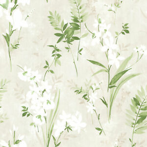 Kitchen Bed Bath IV by Brewster 2686-21628 Driselle Green Floral Wallpaper