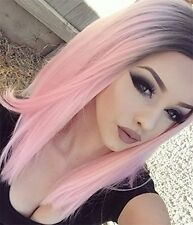 Synthetic Lace Front Straight Wig Ombre Color Black to Pink Medium Hair3