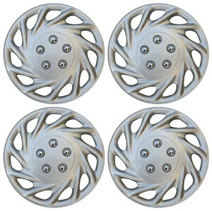 """4 Piece Set 15"""" Inch Hub Cap Silver Skin Rim Cover for Steel Wheel Covers Caps"""