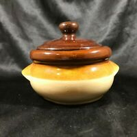 Vintage Stoneware Glazed Pottery Handled Soup Chili Crock
