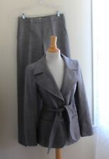Max Mara -Rich Elegant Chic Gray Woven Wool Jacket Belted Pant Suit -Sz 6 38