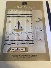 Retro Crusader Boat Map Waterproof Fabric Bathroom Shower Curtain Hooks Mat Set