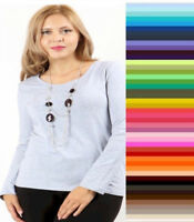 Zenana Womens V NECK Cotton T Shirt Long Sleeve Plus Size XL/1X/2X/3X  Free Ship