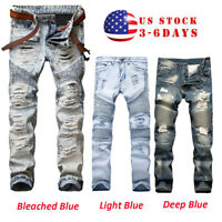 Men's Stretchy Ripped Skinny Biker Jeans Destroyed Tapered Slim Fit Denim Pants