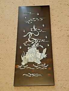 """Chinese Mother of Pearl and Lacquer Tortoise Wall Hanging Plaque Picture 20""""x8"""""""