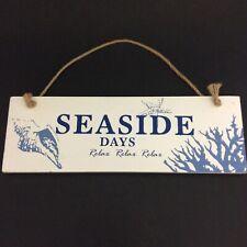 Wooden Hanging Sign Seaside Days Beach Nautical Decor 12 x 4