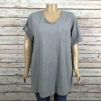 Roaman's V-neck Roll Tab Sleeve Shirt T-shirt 2X 26W 28W PLUS Gray Cotton Slub