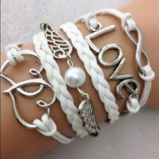 New Fashion Women Infinity-Liebes-Doppel-Herz-Ring-Armband-Perlen-Flügel-Armband
