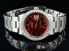 Mens Rolex Datejust Stainless Steel Oyster 36 MM Red Dial Diamond Watch 5.0 Ct