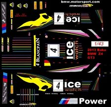 #4 ICE Watch BMW Z4 GT3 2013 1/43rd Scale Slot Car Waterslide Decals