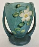 Roseville Pottery USA White Rose in Blue Marked #983-7 circa 1940