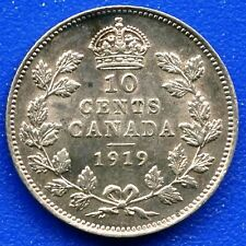 1919 Canada 10 Cent Silver Coin (2.32 Grams .925 Silver)