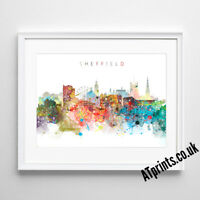 SHEFFIELD SKYLINE MAP Print Poster Watercolour Framed Canvas Wall Art Gift CITY