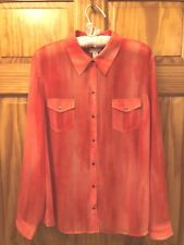 CHICO's Front Snap Sheer Shirt in Shades of Melon - Chico's Size 2 / U.S. 12