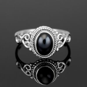 Oval Cut 925 Sterling Silver Ladies Black Onxy Ring Gemstone Jewellery Gift