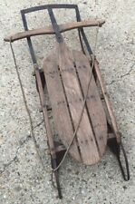 """VINTAGE Wooden Snow Sledge  37"""" Long   Flyer Sled GREAT for Decorating"""