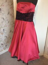 Evening Party Cocktail Raspberry Pink Strapless Lace 50s Style Dress 6-8