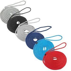 Pre-Spliced Polyester Braided Docklines Mooring Ropes Black Navy Blue 12mm-16mm