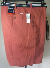 NWT Men's IZOD Chino Shorts 42W Solid Red Flat Front 100% Cotton Dbl D Belt New