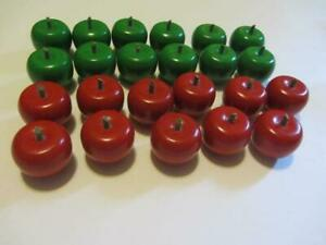 LOT OF 23 WOOD APPLES - RED & GREEN LAQUERED