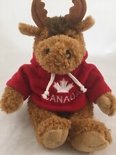 Curly Critters MONTY Moose Plush Red Canada Maple Leaf Hoodie Stuffed Animal 9""