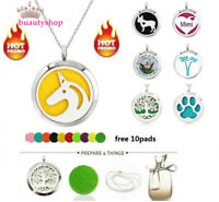 30mm Stainless Steel Aroma Pendant Necklace Essential Oil Diffuser Locket Gift