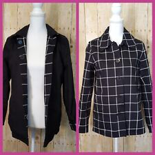 Plaid Black Jacket Casual Reversible Button Down Coat American Living Size S