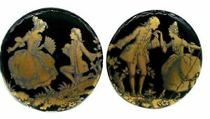 10 Glass Set of Fragonard's Black Gold Courting Couple Cameo 25 mm Vintage
