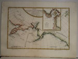 ALASKA NORTHWESTERN AMERICA BERING STRAIT RUSSIA 1787 RIGOBERT BONNE ANTIQUE MAP