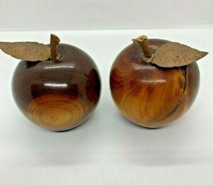"""MCM 2 Vintage Wood Turned Polished Wooden Apples w/ metal leaf 3"""""""