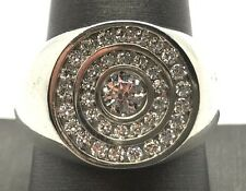 Men's Sterling Silver CZ Round Circle Halo Tornado Channel Set Band Ring Size 10