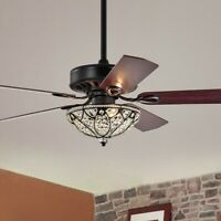 Crystal Bowl Shade Ceiling Fan 52-inch 5 Blade with Remote Control