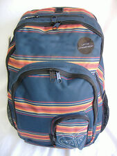 New Womens Girls ROXY Navy Stripe Laptop Backpack Book Bag Tribal Indian