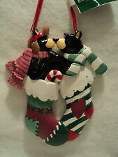 "KSA ~ ""BLACK BEARS IN STOCKING"" Ornament ~ NEW ~ CUTE!!"