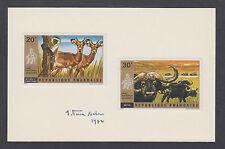 Jean Van Noten, Belgian stamp designer, signed cards, Rwanda Sc 444-453 Animals