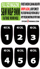 S&W M&P 40 CAL WHITE NUMBER SET 1-6 ROUND HOLE MAGAZINE BASE PLATE STICKERS