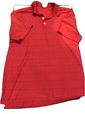 Nike Golf Polo 2Xl Dri-fit Red Striped S/S