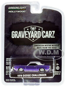 1970 DODGE CHALLENGER PURPLE GRAVEYARD CARZ 1/64 DIECAST CAR GREENLIGHT 44820 F