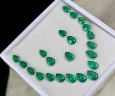 NATURAL ZAMBIAN EMERALD PEAR CUT GEMSTONE 22 PIECES 34.82 CARATS FOR DESIGNING