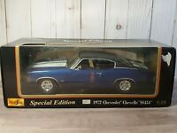 Maisto 1972 Chevy Chevelle SS 454 Sport Coupe 1:18 Scale Diecast Muscle Car Blue