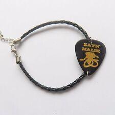 "ZAYN MALIK 1D signature guitar pick plectrum leather twist braid Bracelet 7.5"""